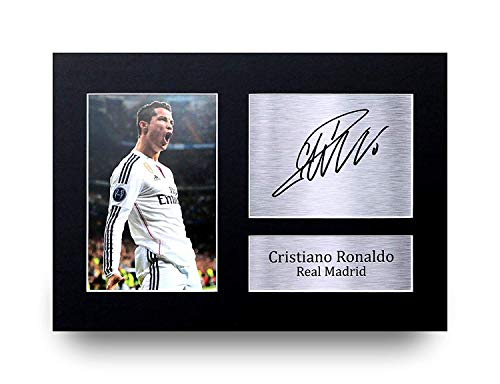 Hwc Trading Real Madrid Cristiano Ronaldo Gift Signed A4 Printed Autograph Gifts Photo Display