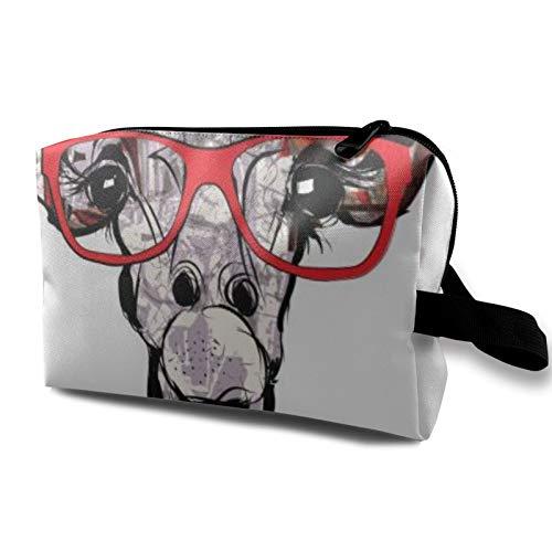 Bolsa de almacenamiento de lona de maquillaje de viaje, bolso de aseo portátil, pequeño organizador de cosméticos, bolsa de monedas para niñas, mujeres, hombres, gafas de sol de jirafa