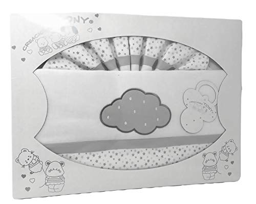 Sábanas Cuna Franela 100% algodon - Danielstore (Nube gris)