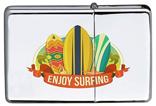 Chrom Sturm Feuerzeug Benzinfeuerzeug aus Metall Aufladbar Winddicht für Küche Grill Zigaretten Kerzen Bedruckt Fun Viel Spaß beim Surfen