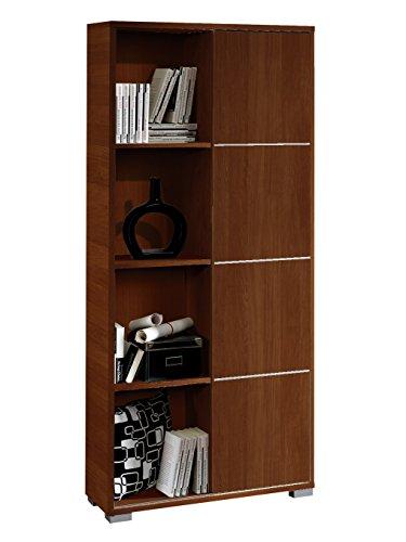 Abitti Librería estantería de pie Color wengué con Puerta corredera y Tiras Decorativas Metalizadas de salón, Comedor o Oficina. 180cm Altura x 80cm Ancho x 32cm Fondo.