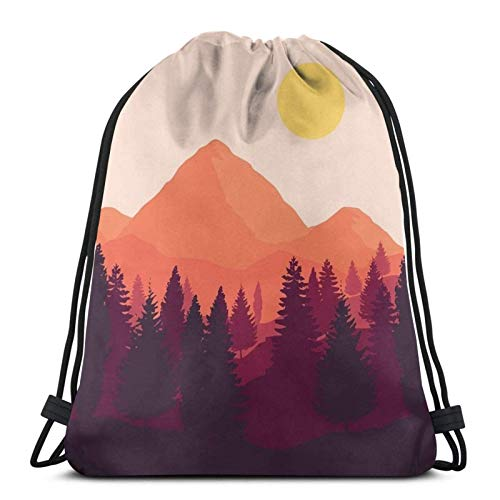 Forest Mountain Horizon Drstring Backpack Gym Sack Pack Solid Cinch Pack Sinch Sack Sport String Bag