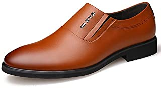 FYdgb Men's Fashion Non-Slip Genuine Leather Shoes Slip-on Pointed-Toe Business Dress Shoes
