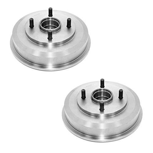 Detroit Axle - 9.56' (243mm) Premium REAR Drum Brake Rotors w/Wheel Bearing for...