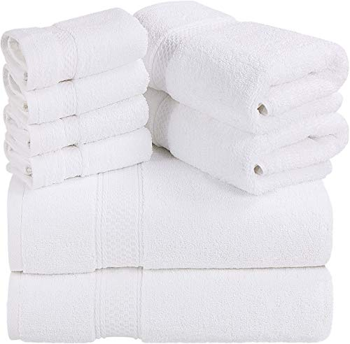 Utopia Towels - Premium Towel Set, White - 2 Bath Towels, 2 Hand Towels, and 4 Washcloths - 700 GSM Ring Spun Cotton Highly Absorbent Towels for Bathroom, Shower Towel, (8 Pieces)