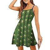 Robe sans manches pour femme - Robe d'été - Cactus piments - Plante verte - Réglable - Spaghetti - Robe de loisirs, Blanc., XL