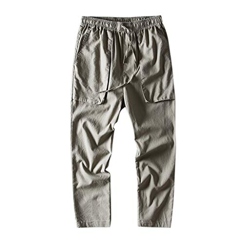Leinenhose Männer Chino Herren-Hose lockere Sommer Stoffhose Baumwollhose aus Leinen weicher, Naturbaumwolle, mit Tasche, Tunnelzug und Gummibund