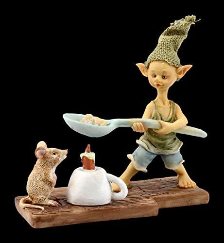 Figuren Shop GmbH Pixie Kobold Fantasy-Figur - Popcorn über Kerze | Deko-Figur, Zwerg, Gnom, Sammel-Figur, Skulptur, Statue, H 10 cm