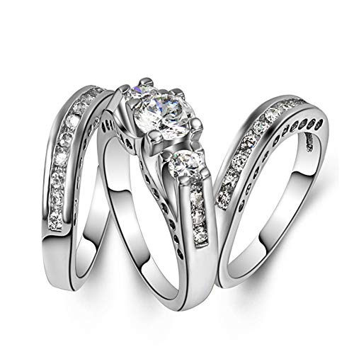 Goldenchen Fashion Jewelry Size 6-10 Three-in-One Engagement Rings Set Wedding Rhodium 925 Sterling Silver CZ Crystal Wedding Rings (10)