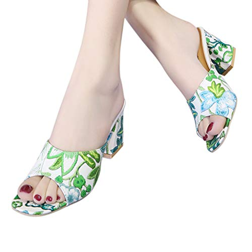 VESNIBA Sandalias para mujer, zapatillas de estar por casa con suela de piel, tacón en bloque y puntera media, elegantes, Mary Jane verde 35