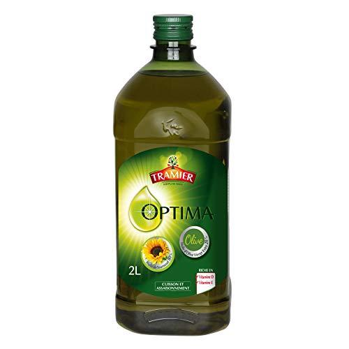Tramier Mélange d'huiles Optima (1 x 2 L), mélange d'huile d'olive vierge extra et d'huile de tournesol, bouteille d'huile riche en vitamines D et E