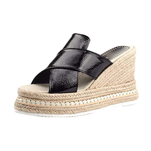 HBDLH-Damenschuhe/Sommer-Lack Zehen Dick Unten Kuchen Steigung Bettwäsche Sandalen Outdoor-Schuhe Meine Schuhe.36 Schwarz