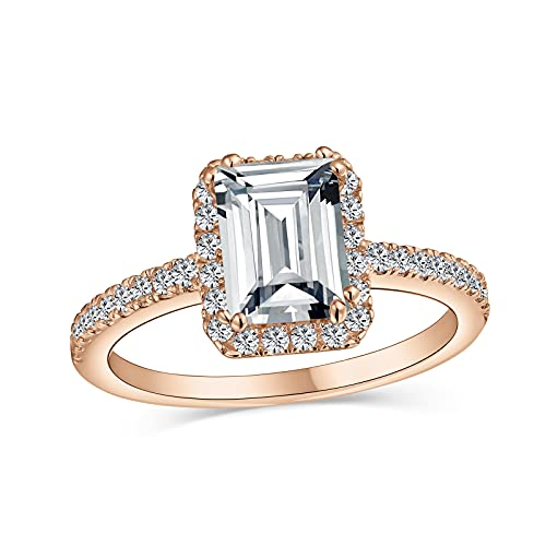 Clásico elegante 3CT Emerald Cut Cubic Zirconia 1MM Thin Pave Band Halo AAA CZ Art Deco Style .925 Sterling Silver Engagement Promise Ring para mujeres