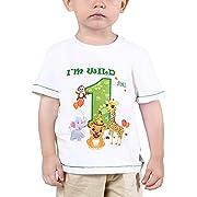 Baby Junge 1. Geburtstag T Shirt - Waldtiere Geburtstag Partyzubehör Kurzarm Ich Bin wild und 1 EIN Jahr Dschungel Geburtstagsfeier 100% Baumwolle gedruckt T-Shirt Geschenk (Weiß, 80)