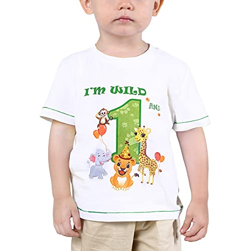 1er Camiseta Cumpleaños Bebé Niño Animales de Selva Cumpleaño Manga Corta Tops Un año Fiesta de Cumpleaños de Selva 100% Algodón Impreso T-Shirt (Blanco, 80)