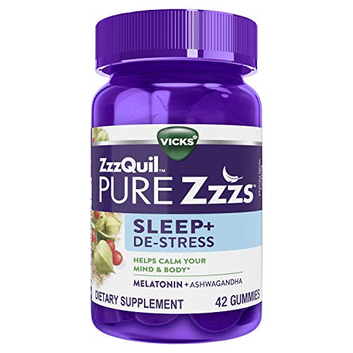 ZzzQuil PURE Zzzs, De-Stress & Sleep, Melatonin Sleep Aid with Ashwagandha, Chamomile, Lavender, & Valerian Root, Drug Free, 42 Gummies (Packaging May Vary)