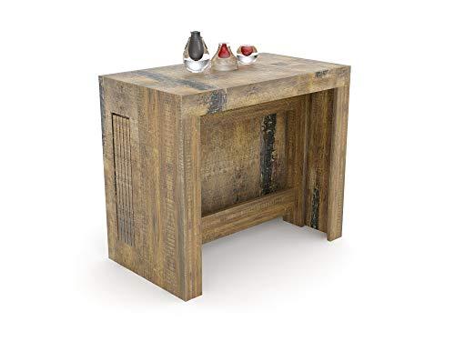 VE.CA.s.r.l. Tavolo consolle allungabile Karen con Porta allunghe in Legno - allungabile da 51,5 cm 300 cm, in 5 colorazioni - arredo Cucina casa Design (Legno Invecchiato)