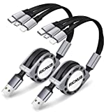 2 Pack RICNUS 4Ft 3.0A Retractable Multi USB Charger Cord, Multiple Charging Cable 3-in-1 USB Charge Cord with Phone/Type C/Micro USB Connector for Phone/Galaxy S9/S8/S7/Huawei and More (Gray)