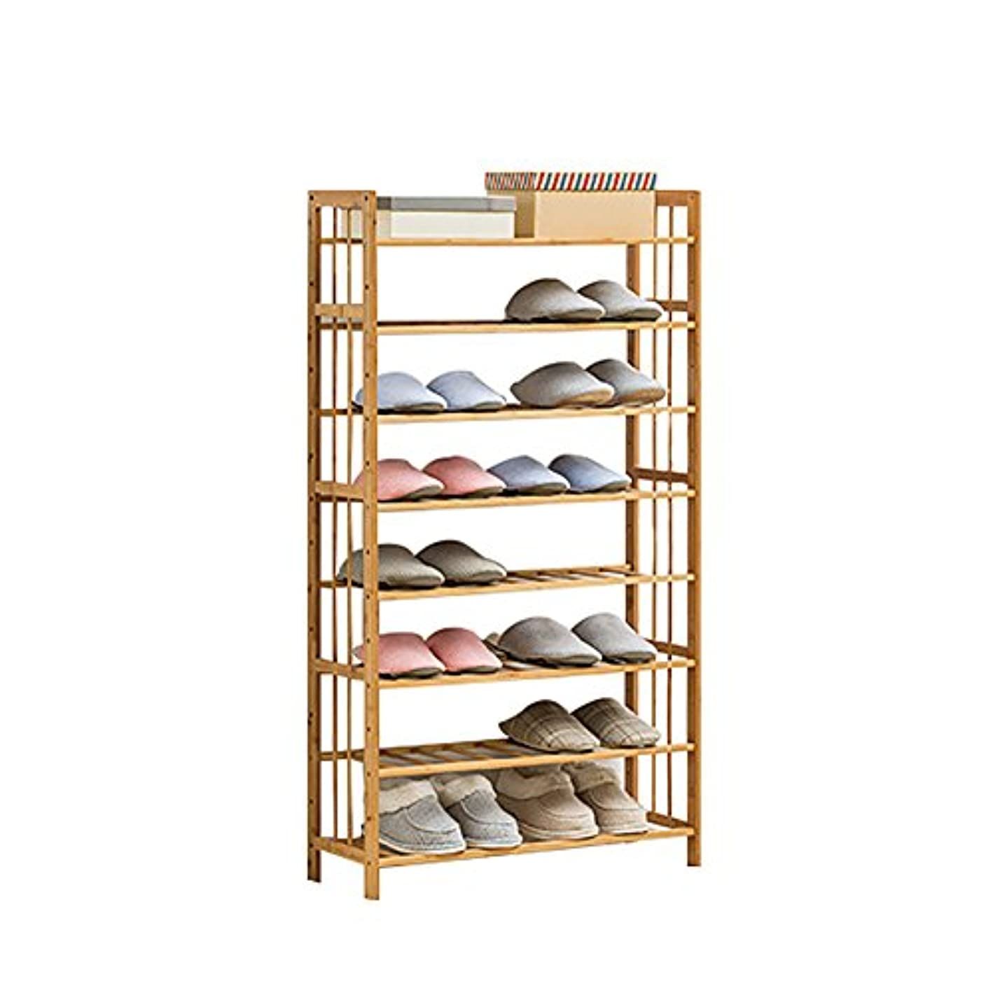 GX&XD 8-Tier Floor Bamboo Easy Shoe Rack,Assemble Dust-Proof Shoe Tower Stackable Shoe Organizer Shelves Holds 20-25 Pair of Shoes Unit entryway Shelf-A 70x25x125cm(28x10x49)