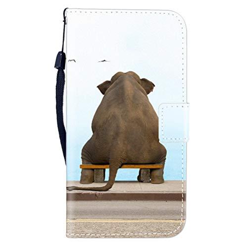 Sunrive Hülle Für BQ Aquaris E5s/E5, Magnetisch Schaltfläche Ledertasche Schutzhülle Etui Leder Hülle Cover Handyhülle Tasche Schalen Lederhülle MEHRWEG(W8 Elefant)
