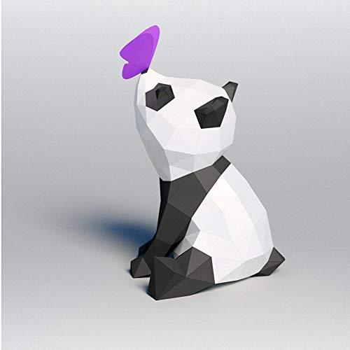 LYEC3 DIY Origami 3D Mariposa geométrica Panda Animal Decoración de Pared Papel Tridimensional Trofeo Papel Arte Modelo Familia Juegos de Rompecabezas Hechos a Mano