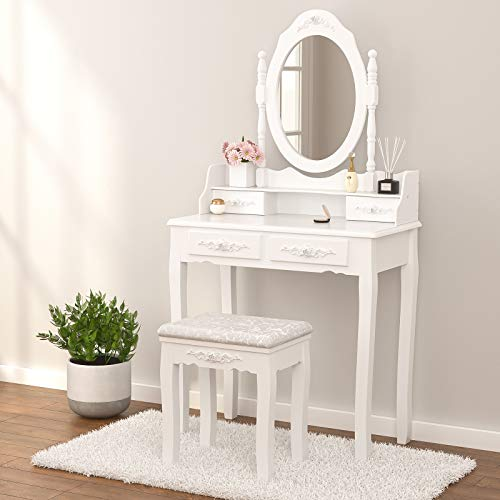 Mecor Decorative Mirrored Dressing Table with Drawers Set