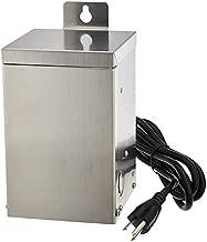 MarLG 75-Watt Low Voltage Multi-Tap (12V/15V) Stainless Steel Landscape Lighting Transformer with Mechanical Rotary Timer, ETL-Listed, 3288-12V