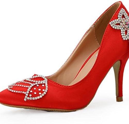 BGYHU GGX Damen Schuhe Seide Stiletto Heel Heels Heels Hochzeit Party & Abend Kleid Rot