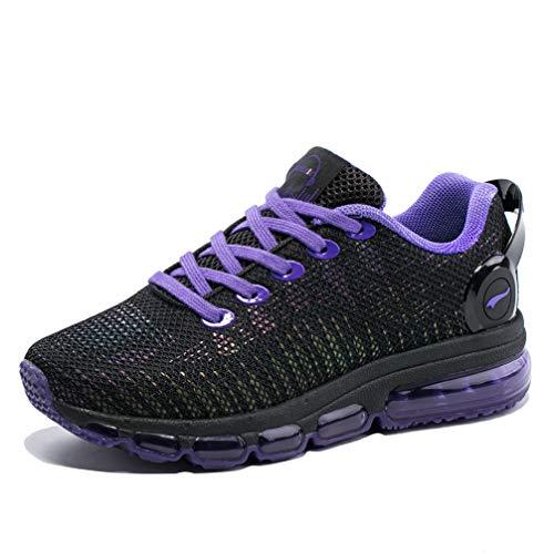 ONEMIX Herren Damen Laufschuhe Luftpolster Sportschuhe Straßenlaufschuhe Sneaker Bunte Reflexionen Fitness Walkingschuhe 1216A Pink 37