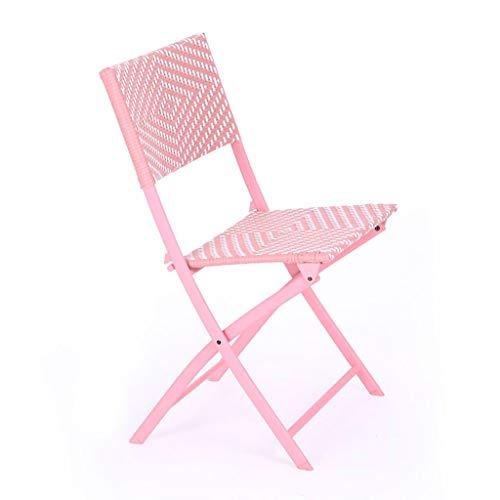 SXYULQQZ Rattan Balcón Ocio Lunch Break Silla Silla para el hogar Lazy Silla Plegable portátil Naranja Rosa Púrpura Gris / - / (Color: Pink)