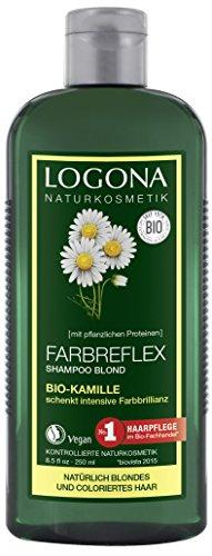 LOGONA Naturkosmetik Farbreflex Shampoo Blond Bio-Kamille, Farbschutz für natürlich blondes/gefärbtes Haar, Belebt die Farbintensivität, 250 ml