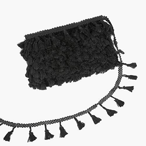 Cinta bordada de algodón con flecos de tela de 50 yardas, para manualidades, cortinas de costura hechas a mano, accesorios decorativos (negro, 50 yardas)