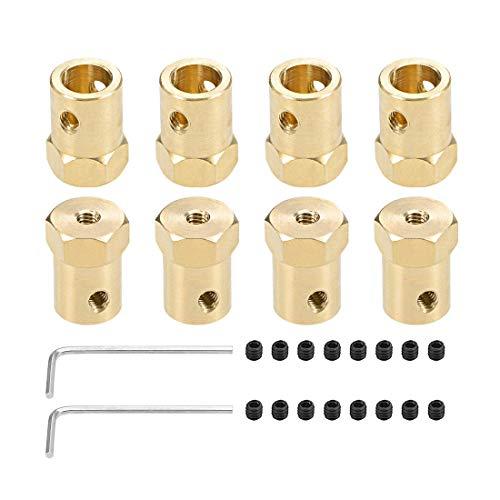 Acoplador hexagonal Motor de diámetro interior de 8 mm Conector flexible de acoplamiento de eje de latón hexagonal para ruedas de coche Motor de eje de neumáticos 8 piezas