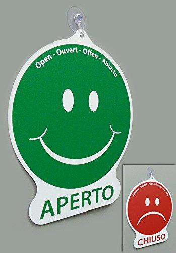 Cartello APERTO e CHIUSO emoticon per negozio vetrina studio laboratorio officina