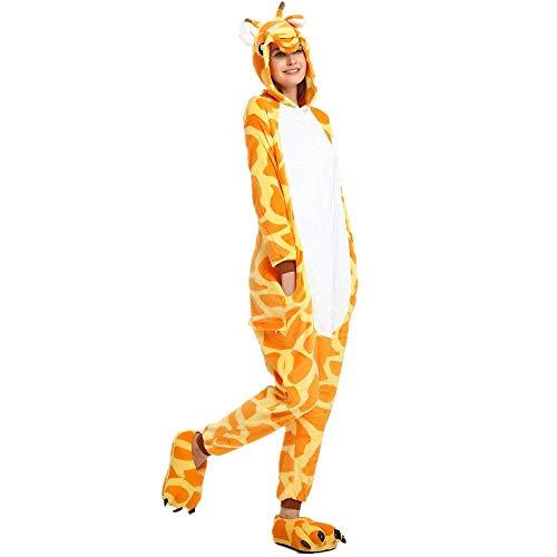 Regenboghorn Unisex Einhorn kostüme, Schlafanzug, Pyjama,für das Halloween ,Karneval und Weihnachten mit der Kapuze (XL, Giraffe)