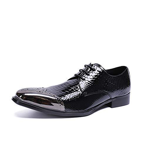 WLGC lederen herenschoenen, patent lederen Britse stijl laag om te helpen met metalen tip ronde kop trend persoonlijkheid erwten schoenen