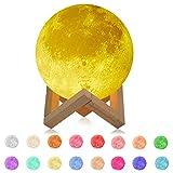 FGX Lámpara Luna 3D, 15cm Lámpara Mesilla De Noche, Brillo Regulable 16 Colores RGB Recargable, 4 Modos De Lluminación, Control Remoto Y Control Táctil, Para Dormitorio, Salón, Regalo Para Mujeres