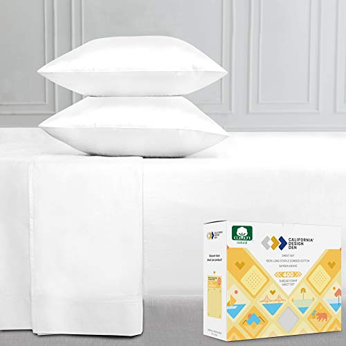 400-Thread-Count 100% Cotton Sheet Pure White Queen-Sheets Set, 4-Piece Long-Staple Combed Cotton Best-Bedding Sheets for Bed, Breathable, Soft & Silky Sateen Weave Fits Mattress 16'' Deep Pocket