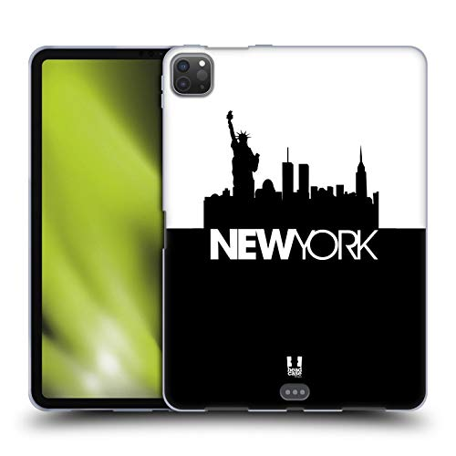 Head Case Designs New York Black And White Skyline S3 Soft Gel Case Compatible for Apple iPad Pro 11 (2020)