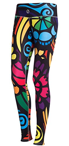 Nessi Collant de Course longue Leggings oslk Fitness Pantalon Respirant Colored mosaic3, 04 Mosaikglas, XXS/XS