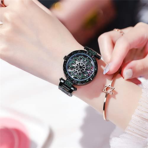 ZWH Sacueque los Modelos de explosión de transmisión en Vivo Rojos para Correr Reloj Femenino Moda Cinturón de Acero Impermeable Tabla de Damas Una generación (Color : Black)