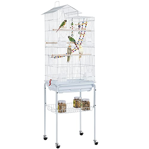 Yaheetech Rolling Large Matel Parrot Cage Bird Cage for Budgies/Cockatiels/Parakeets with Stand & Toys White