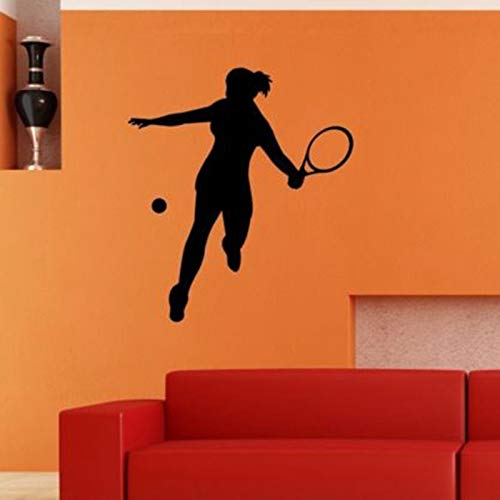 yiyiyaya Tennis Aufkleber Autofenster Sport Aufkleber Wall StickerName Poster Vinyl Wall Decals Wall Decor Wandbild Tennis Aufkleber 58X65CM
