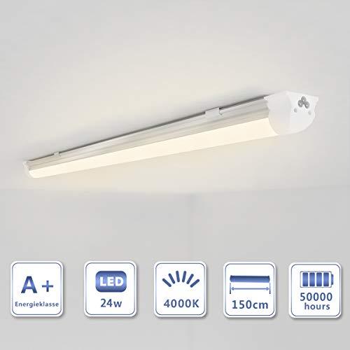 OUBO 150cm LED Leuchtstoffröhre komplett Set mit Fassung Neutralweiss 4000K 24W 2550lm Lichtleiste T8 Tube milchige Abdeckung