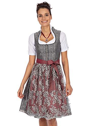 Stockerpoint Damen Dirndl Karissa Kleid für besondere Anlässe, grau-Bordeaux, 48