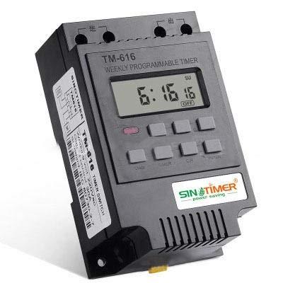 Trihedral-X TM616 - Temporizador de control de carga digital programable (220 V, 110 V, 12 V, 30 A), negro, 110V