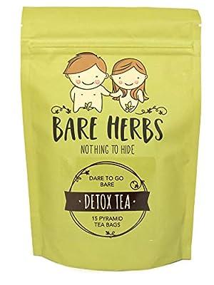 Bare Herbs Detox Tea, Herbal Cleanse – Green Tea, Oolong, Dandelion, Ginger, Goji Berries, Jasmine, Lemongrass, Mate, Garcinia cambogia, Lotus (15 Pyramid Tea Bags) by Immortalitea
