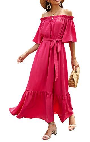 Odosalii Damen Maxikleider V-Ausschnitt Sommerkleid Ärmellos Strandkleid Lange Taschen Kleid mit Schlitz (Medium, Rosenrot 2)