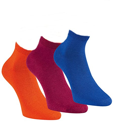 ch-home-desgin 3 Paar Damen & Teenger Viskose Sneaker Socken Bambus orange, pink, blau RS 15290 (39-42)
