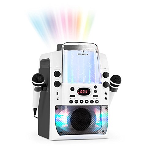 Auna Kara Liquida BT - Equipo De Karaoke, Juego De Karaoke, Para Niños, Efecto Luminoso LED Fuente De Agua, Puerto USB Con MP3, Bluetooth, Efecto Eco Y Función AVC, Blanco-Gris